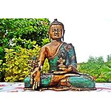 "Buddha Statue , 11"" Large Medicine Antique Bronze Buddha Sculpture"