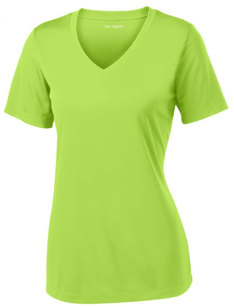 Women's Short Sleeve Moisture Wicking Athletic Shirt-LimeShock-M by Joe's USA