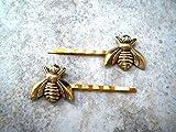 Handmade Gold Bee Bobby Pins