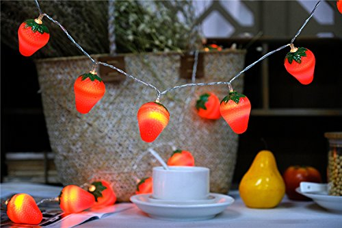 SDOUBLEM Fruit Strawberry String Lights 20 LED Battery Operated Lamp Party Holiday Decorations Light for Indoor Home Patio (Fruit Lamp)