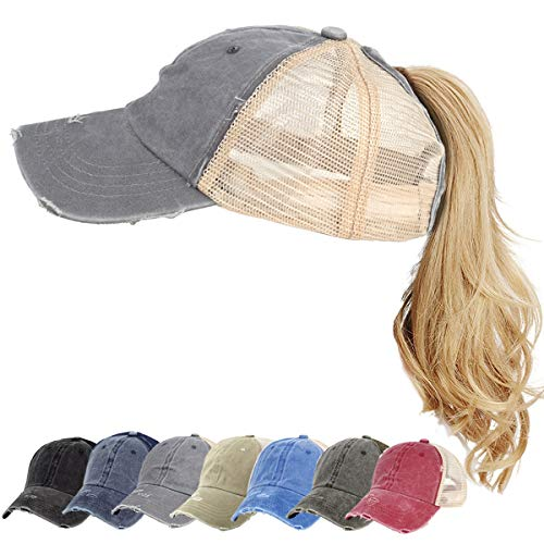 High Messy Bun Ponycap Washed Distressed Ponytail Hat Vintage Mesh Trucker Baseball Cap