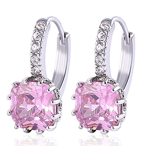 - GULICX Fashion Jewelry White Gold Tone Pink Girl's Cubic Zirconia Huggie Pierced Earrings