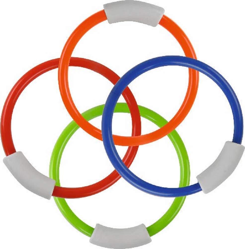 Play Collection Lot de 4 Anneaux de plongée en Plastique Multicolore Diamètre 13,5 cm