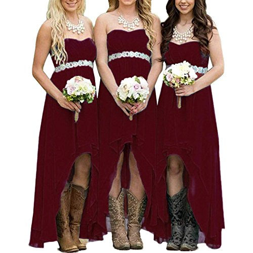 - EUMI Chiffon Bridesmaid Dresses High Low Strapless Country Bridal Wedding Party Gowns, Burgundy 4
