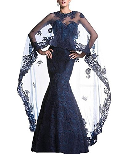 H.S.D Beads Mermaid Wedding Prom Dresses Lace Wraps Formal Evening Gowns US 22W