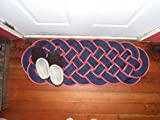 38'' x 15'' Rope Rug Navy Blue & Red Nautical Sailors Marine Ocean Beach Knotted Woven Door Mat