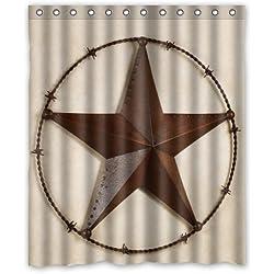 Western texas Star Waterproof Bathroom Fabric Shower Curtain 72x78inch
