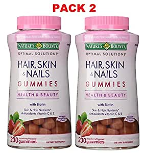 Pack 2, Nature's Bounty Hair Skin and Nails with Biotin, 230 ct (460 Gummies Total)