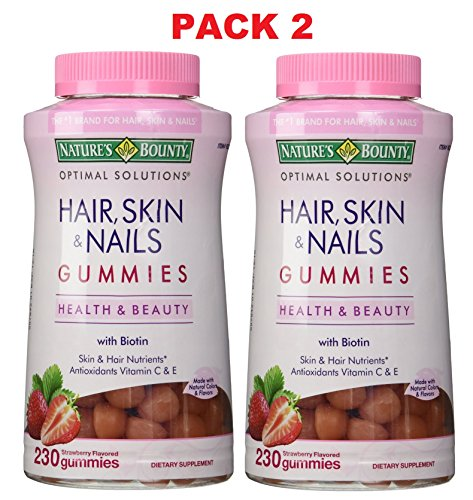 Pack 2, Nature's Bounty Hair Skin and Nails with Biotin, 230 ct (460 Gummies Total) - Nature Bounty Skin Hair Nails