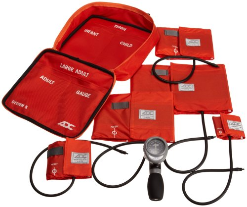 ADC Multikuf 740 5-Cuff EMT Kit with 804 Portable Palm Aneroid Sphygmomanometer, Child, Small Adult, Adult, Large Adult,Black Nylon Zipper Storage Case, Orange