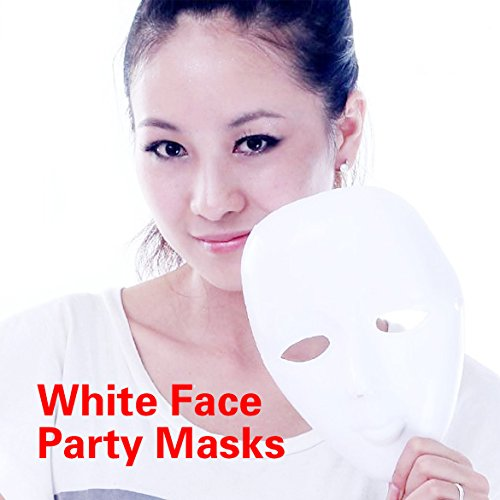 [Scary White Face Halloween Masquerade DIY Mime Mask Ball Party Costume Masks -Ez2Shop] (Couples Scary Costumes)