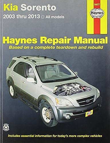 kia sorento 2003 2013 repair manual haynes automotive haynes rh amazon com