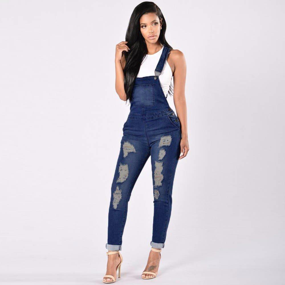 2dc6c64d9d6c VECDUO Women s Jumpsuit Denim Overalls Casual Ripped Hole Jeans Elastic  Hips Slim Pants  Amazon.ca  Clothing   Accessories