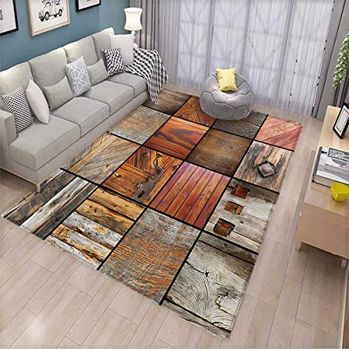 Antique Extra Large Area Rug Collection of Different Wooden Architecture Elements Timber Door Key Print Bath Mat for tub 6'6