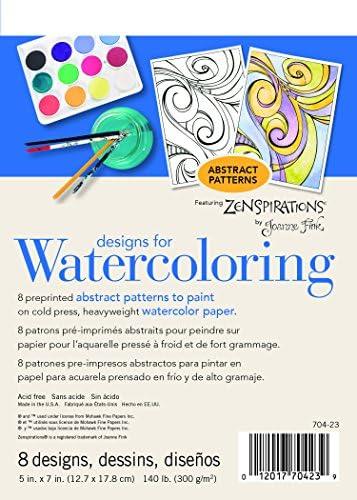Strathmore (704-23-1 水彩画用デザイン 140ポンド コールドプレスパッド、抽象画、8枚。