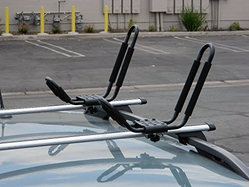 9sparts® J Bar Kayak Canoe Inflatable Boat Wakeboard Waveboard Paddleboard Snowboard Ski Roof Rack Carrier Car SUV Truck Jeep Roof Top Mount With Straps