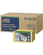 Tork 194650 Paños de limpieza de larga duración Premium / 1 capa/Paños multiusos compatibles con el sistema W8 / 8 paquetes x 40 paños (320 piezas) / color amarillo