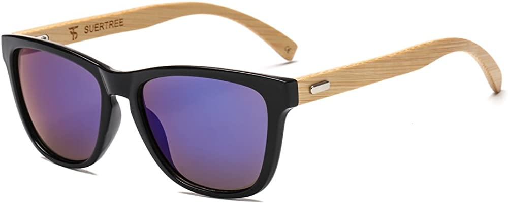 SUERTREE Fashion Bamboo Sunglasses Women Men Ladies Vintage Sun Glasses JH8001-8003