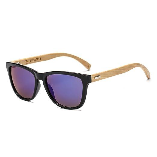 c02ca974ec SUERTREE Fashion Bamboo Sunglasses Women Man Vintage Wood Sun Glasses Retro  Wooden Shades JH8002 (Black
