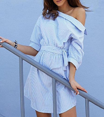 Mini Women Summer up Pinstripe Relaxed Coolred Sexy Belted Dress Blue Button d78nUxCCqS