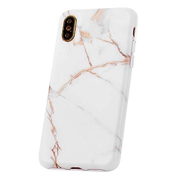 QULT Carcasa para Móvil Compatible con iPhone XS iPhone X Funda marmol Blanco Silicona Flexible Bumper Teléfono Caso para iPhone X/XS Marble White
