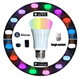 Smart Led Bulb, Wi-Fi Connection, Cellphone Control, Compatible with Amazon Alexa and Google Assistant, 8W (60W equivalent), Multicolor Tunable, Color Temperature 2700-6400K