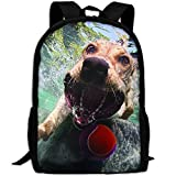 OIlXKV The Dog Is Playing The Ball In The Water Print Custom Casual School Bag Backpack Multipurpose Travel Daypack For Adult