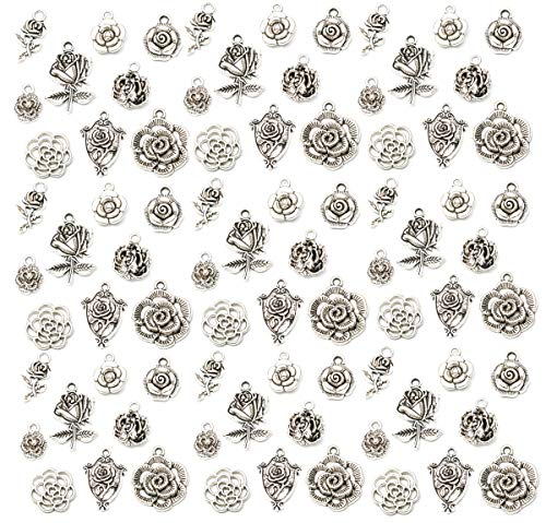 90 Pack 3D Rose Pendant Flower Charms Antique Silver Bracelet Necklace Jewelry Making Beads for Birthday Christmas Valentine's Gift (Pendant Bead Rose)