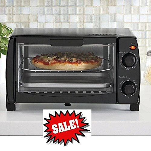 Mainstays 4-Slice Toaster Oven, Toast Bake Broil Kitchen Appliance NEW, Black