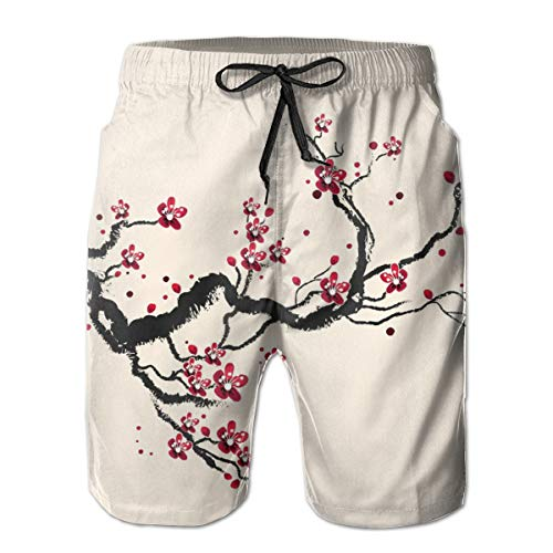 - Plum Tree Blossom Ink Painting Chinese Paint Mens Swim Trunks Boardshorts Beach Swim Shorts Beach Wear Quick Dry