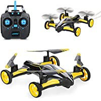 SZJJX RC Flying Car Air-Ground Quadcopter Remote Control Drones 6-Axis Gyro 2.4Ghz 6CH Land/Sky 2 Modes Helicopter 2 in 1 Toy Yellow