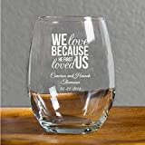 72 Pack Personalized Color Printed We Love Ever After 9 oz stemless Wine Glass, Wedding Favor,Party Favor, Anniversary Favor, Personalized Wine Glass, Bridal Shower Favors White