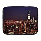 ALLX00QOQ New York At Night Building At Northeastern Most Crowded Town USA Photo Shock-Resistant Notebook Sleeve Case Size 15 Inch