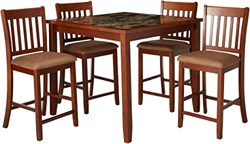 5-piece Counter Height Dining Set Red Brown and Tan (Bedford Ladder Back Stool)