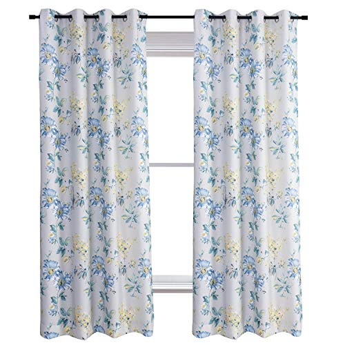 Anady Top Teal Blue Yellow Flowers Curtains Morden Window Drapes Grommet Top 63 inch Long -