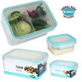 Persik Lunch Box Bento Containers - 1.1 L (37 oz.), Bento Meal Prep Containers with 3 Divided Removable Compartment Portion Control + PLUS BONUS + 150 ml (5 oz.) Snack/Soup Food storage Container