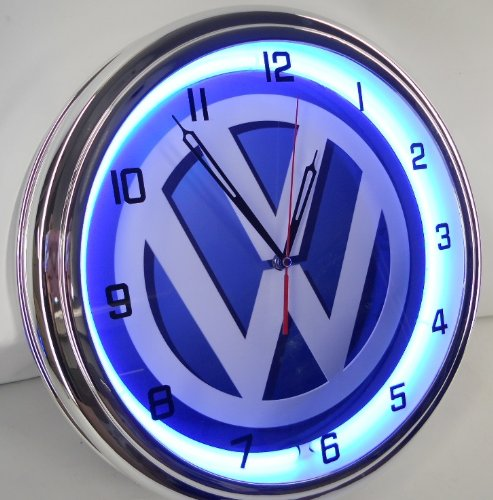 Volkswagen vw 15 neon lighted wall clock garage sign blue for Garage volkswagen paris 15