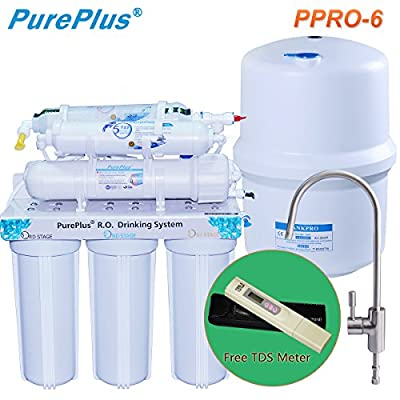 PurePlus Under Sink 6-Stage Reverse Osmosis Drinking Water Filter System With LG Original Membrance 80GPD & Full Sets Of 6 Filters & 1 TDS Meter Leakfree Easy Installation