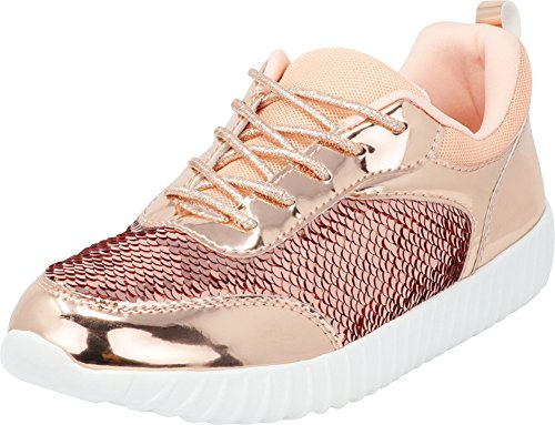 - Cambridge Select Women's Closed Toe Mermaid Sequin Lace-up Casual Sport Fashion Sneaker,9 B(M) US,Rose Gold