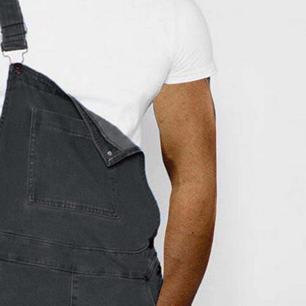 Peto para hombre con pantal/ón corto estilo vintage rasgado ajustado estilo vaquero estilo casual Dihope
