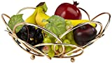 Mind Reader Fruit Basket Bowl for Countertop, Tabletop,Modern Design, Gold