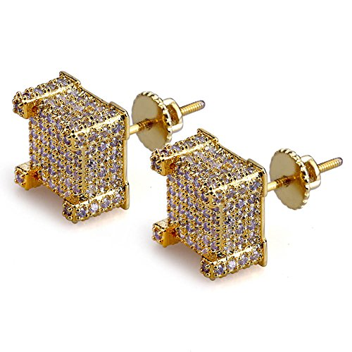 Hip Hop Iced Out Big Square Flat Screen Block Screw Back Stud Earring For Men and Women (Yellow Gold)