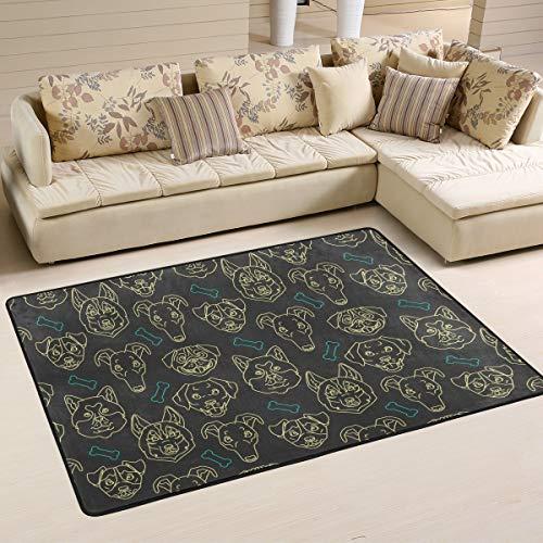 CENHOME Area Rugs Dog Head Bone Dark Background Floor Mat Indoor/Outdoor Non Slip Rugs Home Entryway Carpet Doormat