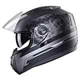 GLX GX11-GT-M Lightweight Full Face Street Bike Motorcycle Helmet (Ghost, Medium) (DOT)