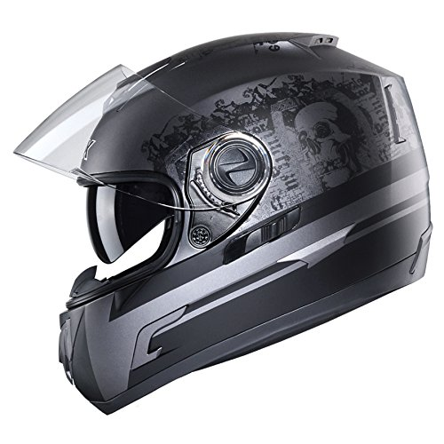 GLX Unisex-Adult GX15 Lightweight Full Face Motorcycle Street Bike Helmet with Internal Sun Visor DOT Approved (Ghost, Large)