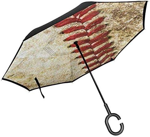 ビンテージスタイリッシュ ユニセックス二重層防水ストレート傘車逆折りたたみ傘C形ハンドル付き