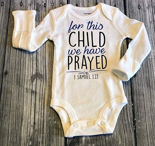 christian baby bodysuit, For this child we have prayed bodysuit, christening bodysuit, baptism bodysuit, 1 Samuel 1:27, bible verse bodysuit, religious bodysuit NEWBORN