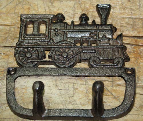 (JumpingLight Cast Iron Antique Style Train Coat Hooks Hat Hook Rack Towel Railroad Locomotive Cast Iron Decor for Vintage Industrial Home Accessory Decorative Gift)