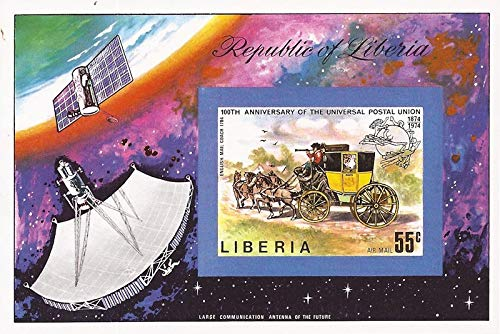 (Liberia - 1974 UPU Anniversary - Imperforate Souvenir Sheet - Scott)