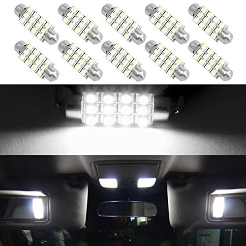 Partsam White 12-3528-SMD 42mm Festoon LED Bulbs Interior Dome Map Reading Lights (Pack of 10) (96 Tahoe Interior Parts compare prices)
